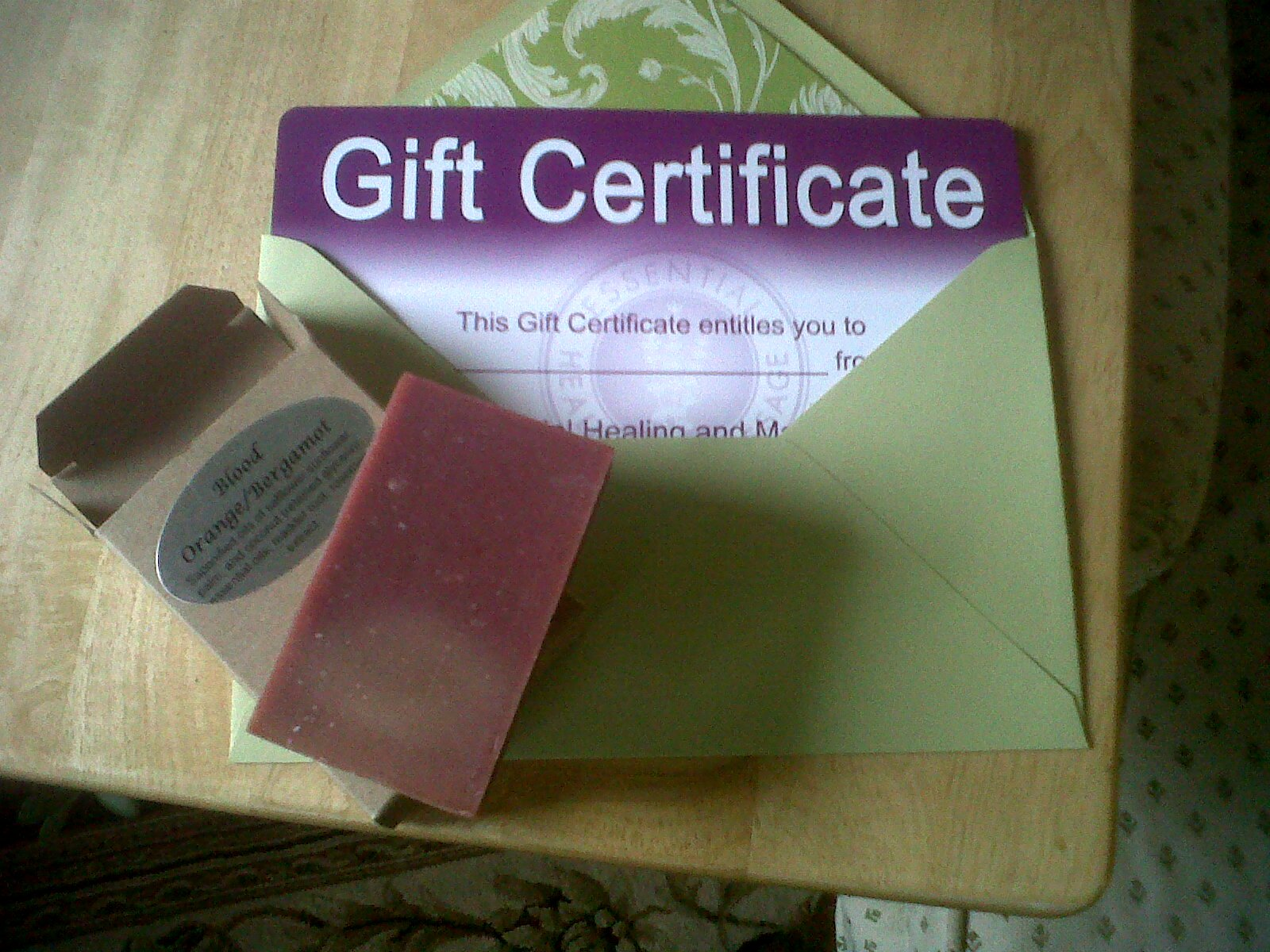 Gift certificate and soap